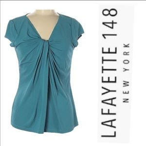 Lafayette 148 New York Teal Blue Top.  Size M